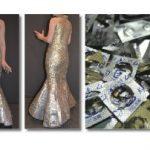 薬のカラで作られた美しいマーメイドドレスから見える薬の過剰処方問題と薬信奉