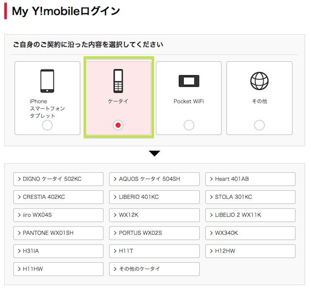 ワイモバイルログイン画面
