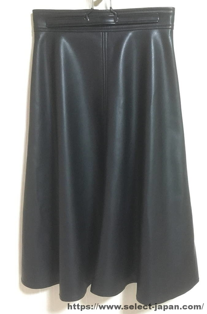 m,i,d, M-PREMIER エム・アイ・ディー エムプルミエ 合成皮革 フェイクレザー フレアスカート 日本製 made in japan