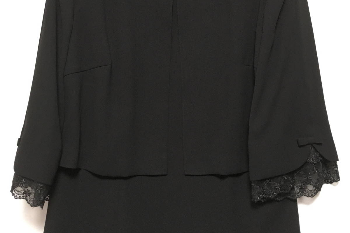 Lurco ルルコ ブラックフォーマル 喪服 レディース ワンピース アンサンブル風 ボレロ風 夏用 洗える ベトナム製 2928970