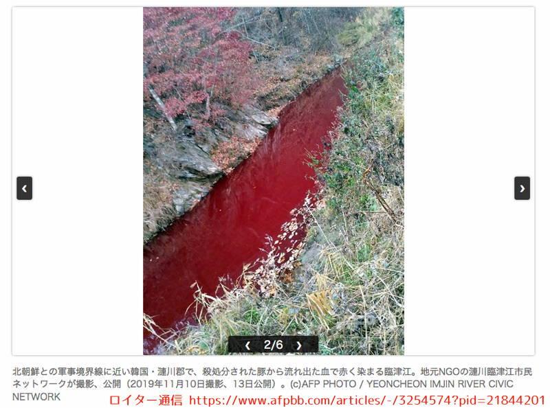 韓国 イムジン河 アフリカ豚コレラ 血液 汚染 ロイター通信より
