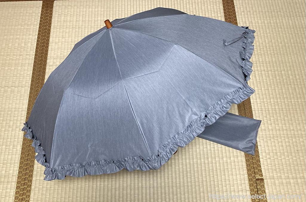100% 日傘 紫外線 カット サンバリア100 日本製 折りたたみ 2段 フリル frost made in japan